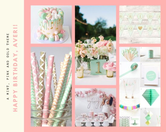 Canva Mint, Pink, and Gold Moodboard