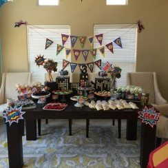 Superhero dessert table