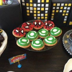 handmade fondant cookie toppers: spiderman and green lantern