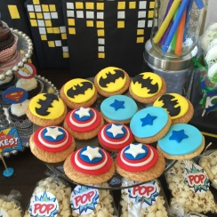 Handmade Fondant cookie toppers. Batman, star, and captain america