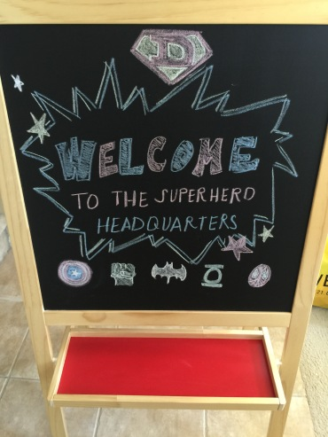 chalkboard, welcome sign, superhero